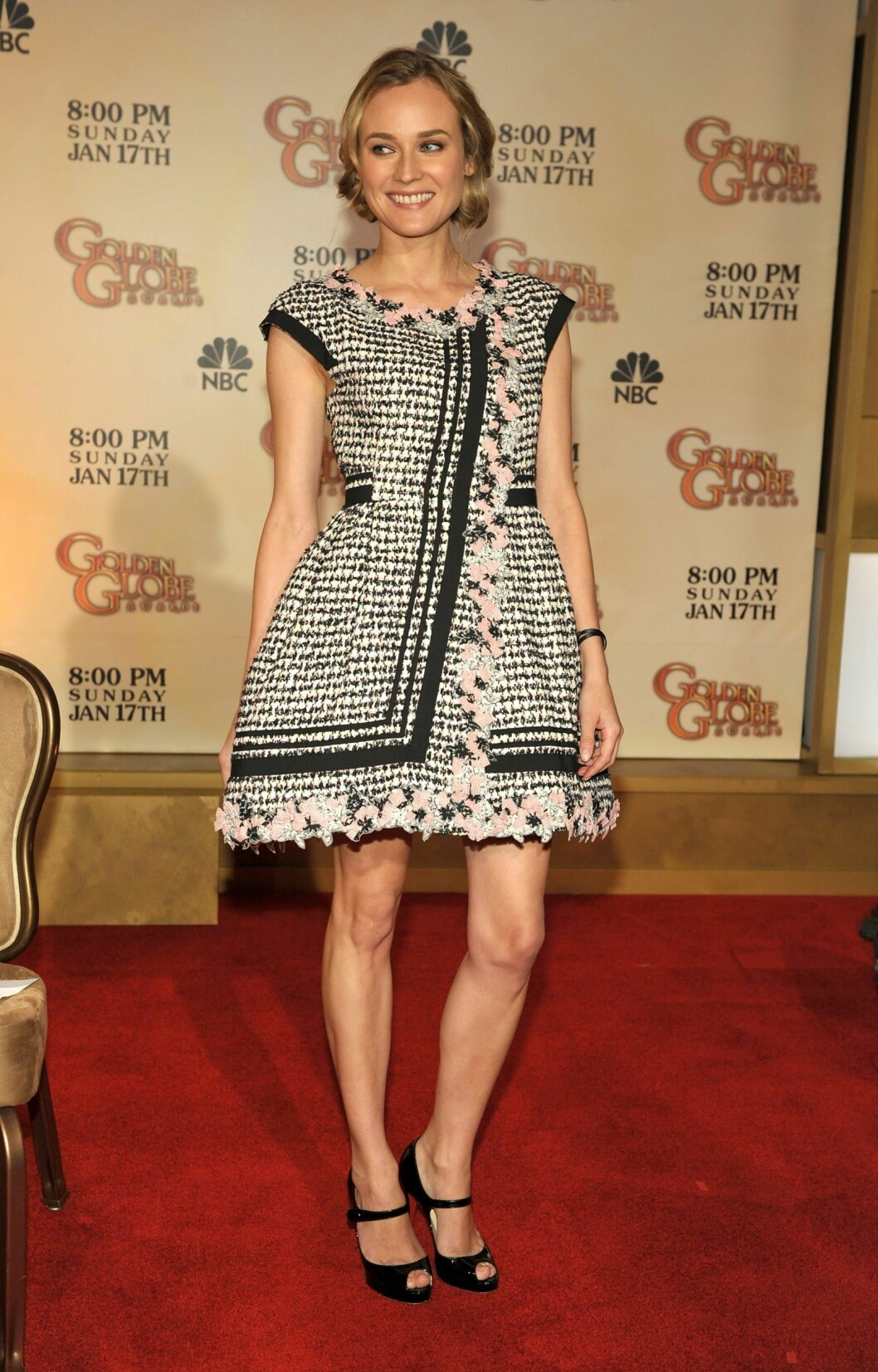 Skuespiller Diane Kruger i en kjole som lyser Chanel av alle detaljer.  Foto: All Over Press