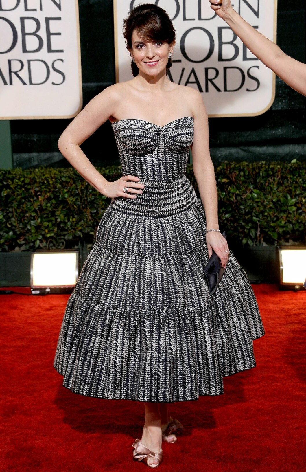 Skuespiller Tina Fey i en feminin kjole fra Zac Posen. Foto: All Over Press