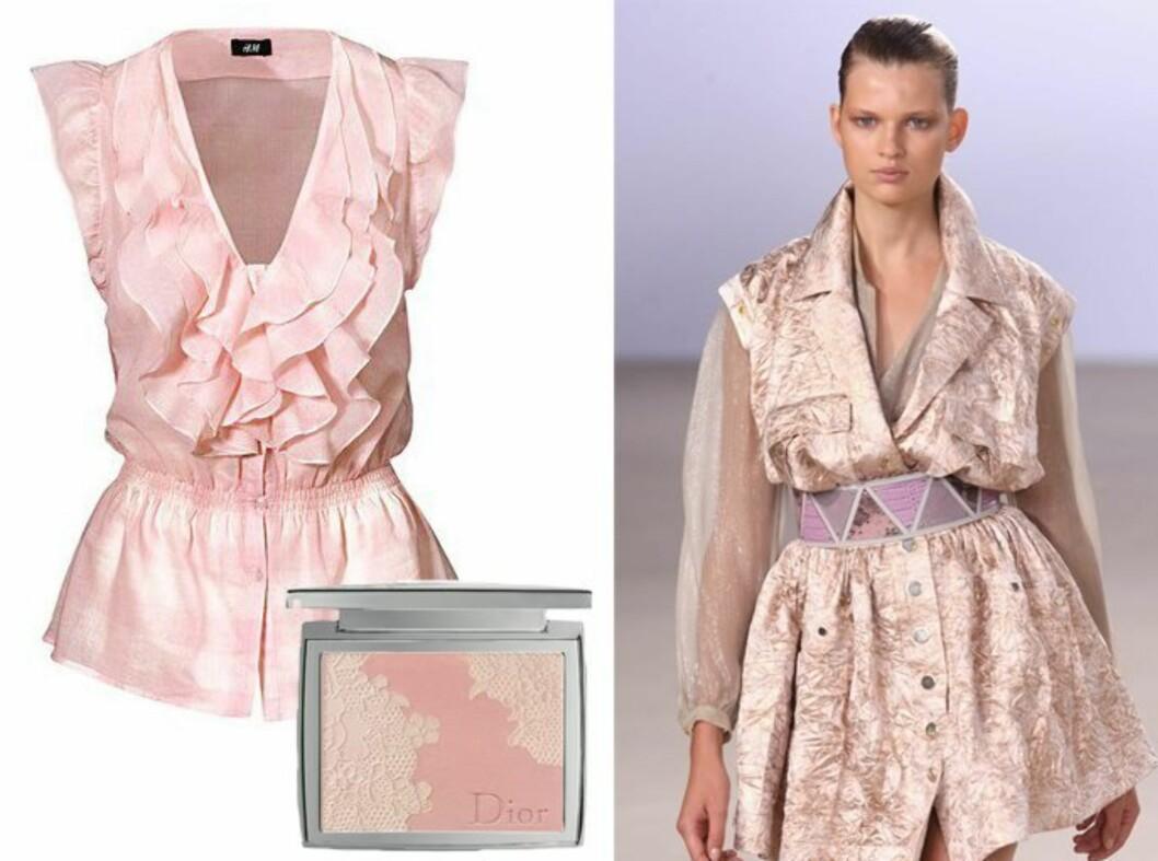 Uskyldsren rosa! Modell fra Matthew Williamsons vårvisning, bomullsbluse fra H&M (kr 250) og Diors stjerneprodukt for våren; en perleaktig blush til panne, neserygg, kinnben og kinn (kr 515).
