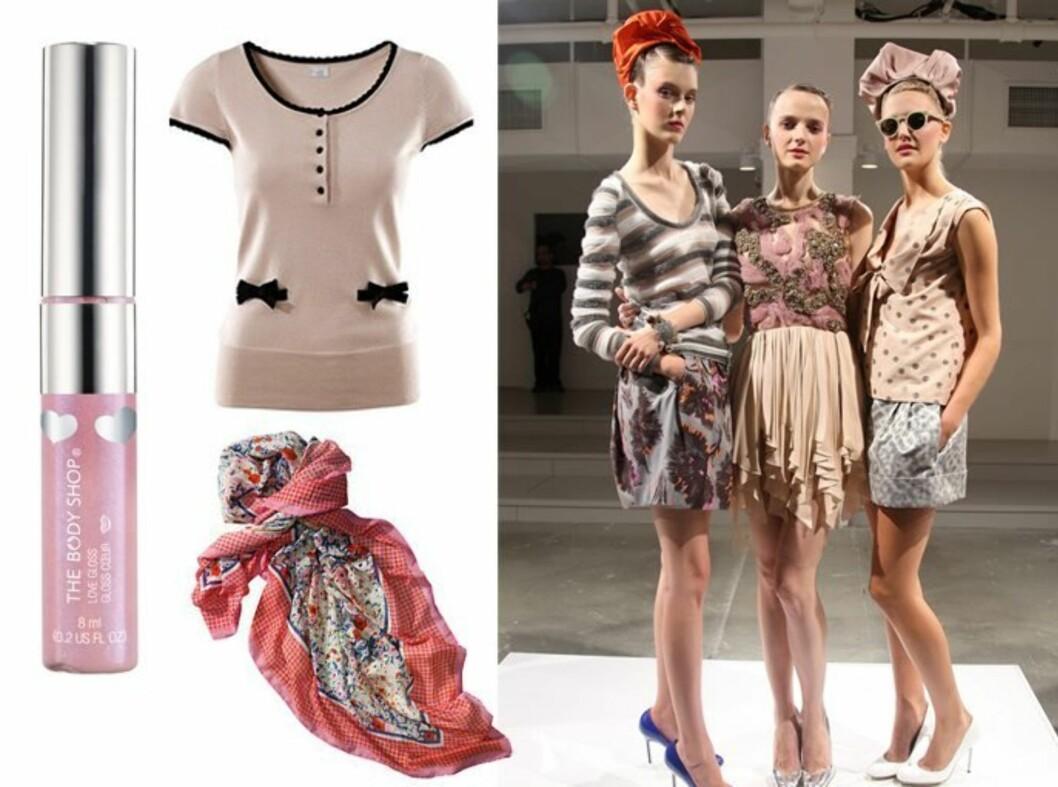 Husmorromantikk! Modeller fra Peters Soms vårvisning,  lovegloss fra The Body Shop (kr 130), søt topp (kr 200) og blomstrete sarong (kr 130). Begge fra H&M.