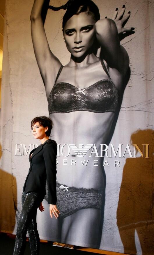 Armanis nye undertøys-kolleksjon har ekteparet Beckham som modeller.  Foto: All Over Press