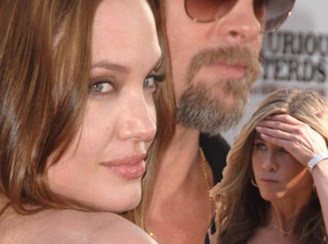 Det er ikke så rart at Angelina Jolie falt for Brad Pitt. Men det kan hende litt av årsaken var at han var gift med Jennifer Aniston. Foto: All Over Press