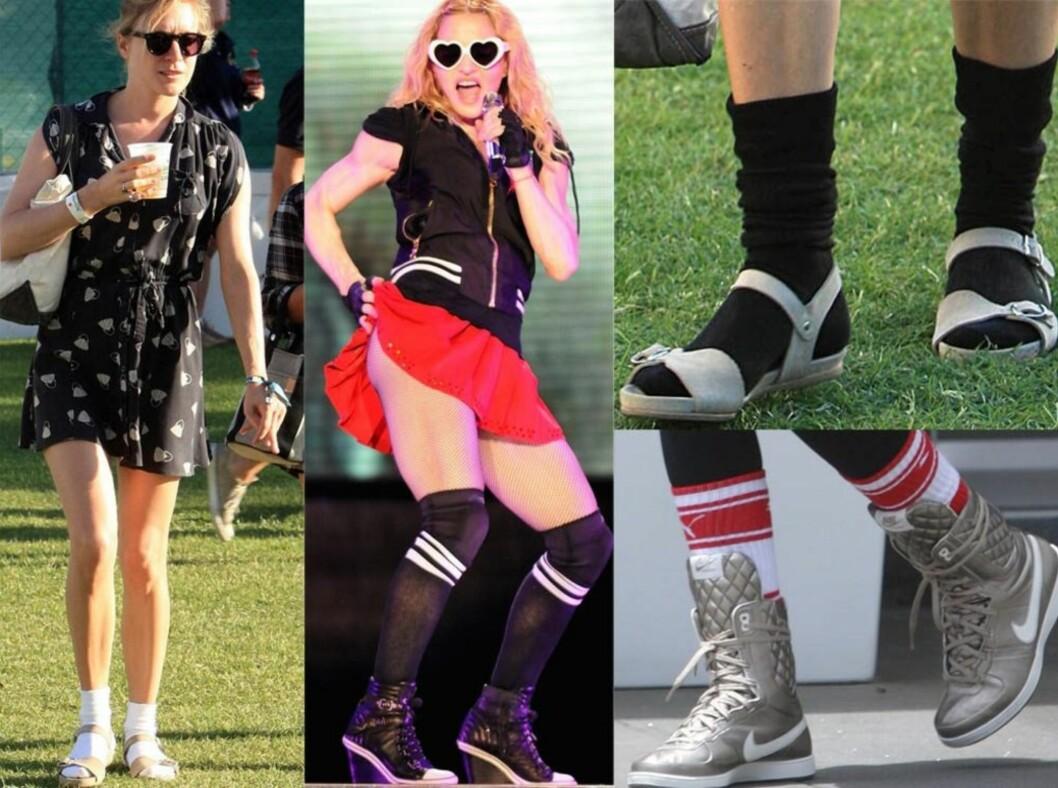 SOMMERENS VIKTIGSTE DETALJ: Fra venstre skuespiller Chloè Sevigny med hvite sokker i sandalene på Coachella-festivalen, Madonna i fotballstrømper på scenen, nærbilde av føttene til Chloè og nedesrt til høyre føttene til skuespiller Ashley Tisdale.  Foto: All Over Press