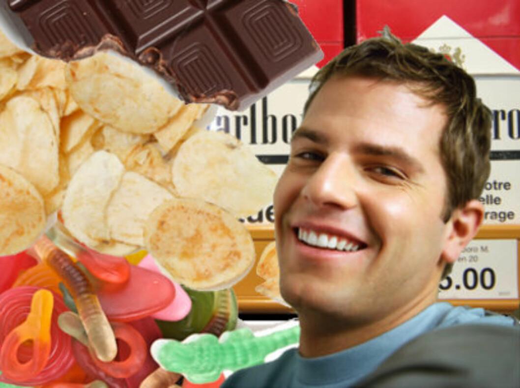 FRISTELSER: Sukker, fett, nikotin og ekskjærester. Vi er visst ikke så flinke til å motstå fristelser som vi tror, ifølge ny studie. Foto: Montasje: Colourbox.com