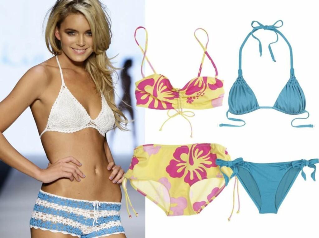 e4270d12 SØTT OG SOMMERLIG: Heklet bikini i lyseblått og hvitt på catwalken til Kyna  Treacy.