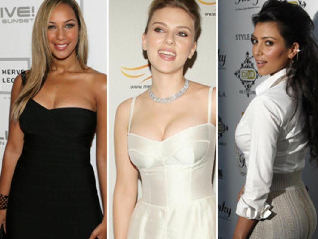 <strong>FORMFULLE STJERNER:</strong> (F.v.) Leona Lewis, Scarlett Johansson og Kim Kardashian.