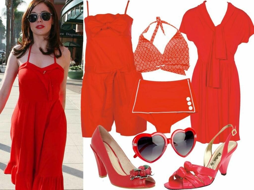 LADY IN RED: Skuespiller Rose McGowan er rålekker i denne røde kjolen. Se informasjon om klærne og skoene lenger ned i saken.