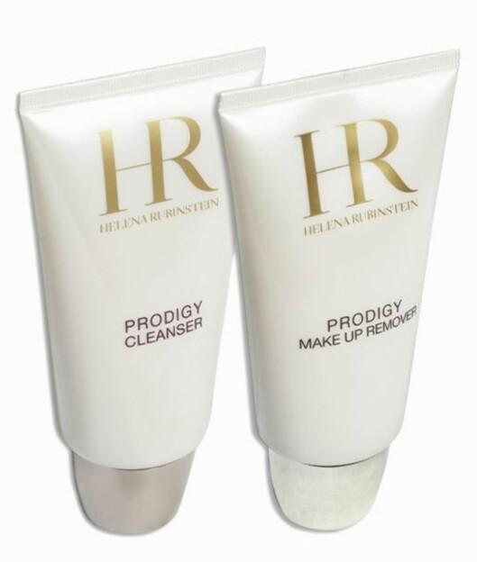 Helena Rubinstein Prodigy Cleanser (kr 470/150 ml) og Prodigy Makeup Remover renser huden skånsomt og gir mye fuktighet (kr 470/150 ml).