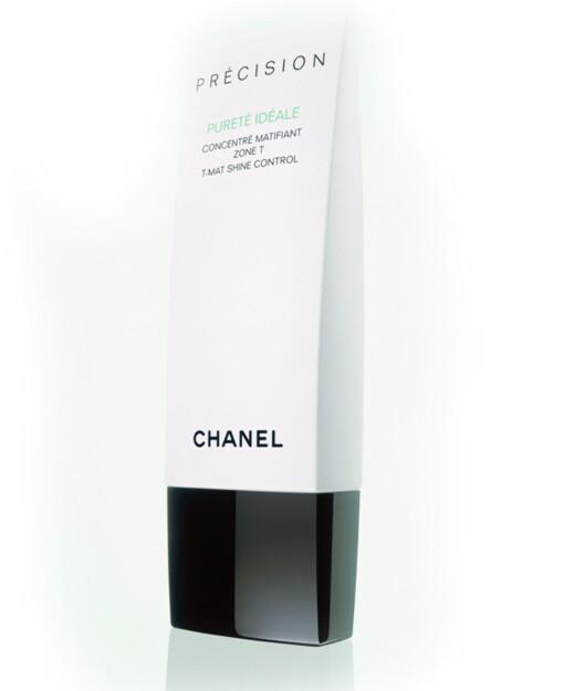 Chanels serie Pureté er spesielt utviklet for hud som har lett for å bli fet og blank. T-Mat Shine Control (kr 325/50 ml).
