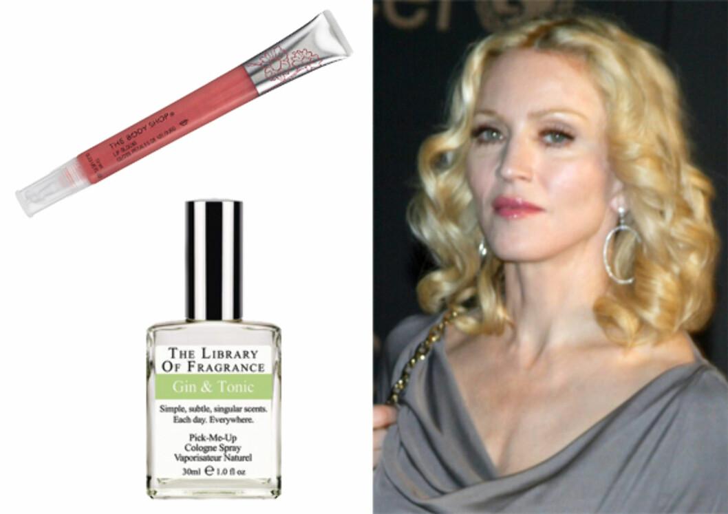 Tandre toner Madonna gjør sin variant av 50-tallslooken med blondt hår og rosa lepper. Rosafarget gloss (kr 160, Body Shop). Er du lei av alminnelige dufter, prøv denne duften fra The Library of Fragrance. Denne lukter gin & tonic. Foretrekker du duggfrisk mojito, finner du selvsagt det i samme serien (kr 150/30 ml).