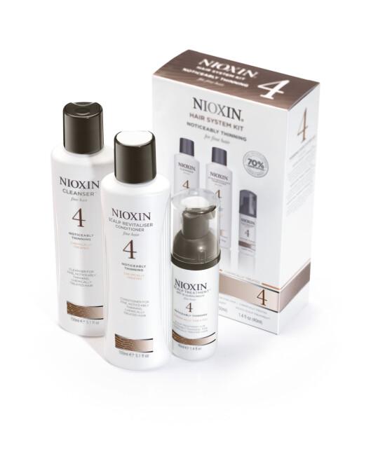 <strong>HUDPLEIE FOR HÅR OG HODEBUNN:</strong> Nioxin har blant annet seks ulike systemer (kit) for fyldigere hår med mer volum. Kit nummer fire er for deg som merker at du mister mer hår enn vanlig og har fint, kjemisk behandlet hår, veil. kr 259. Foto: Produsenten