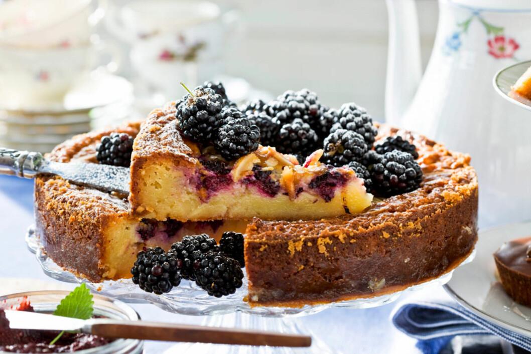Hvit sjokoladekake med bjørnebær Foto: All Over Press