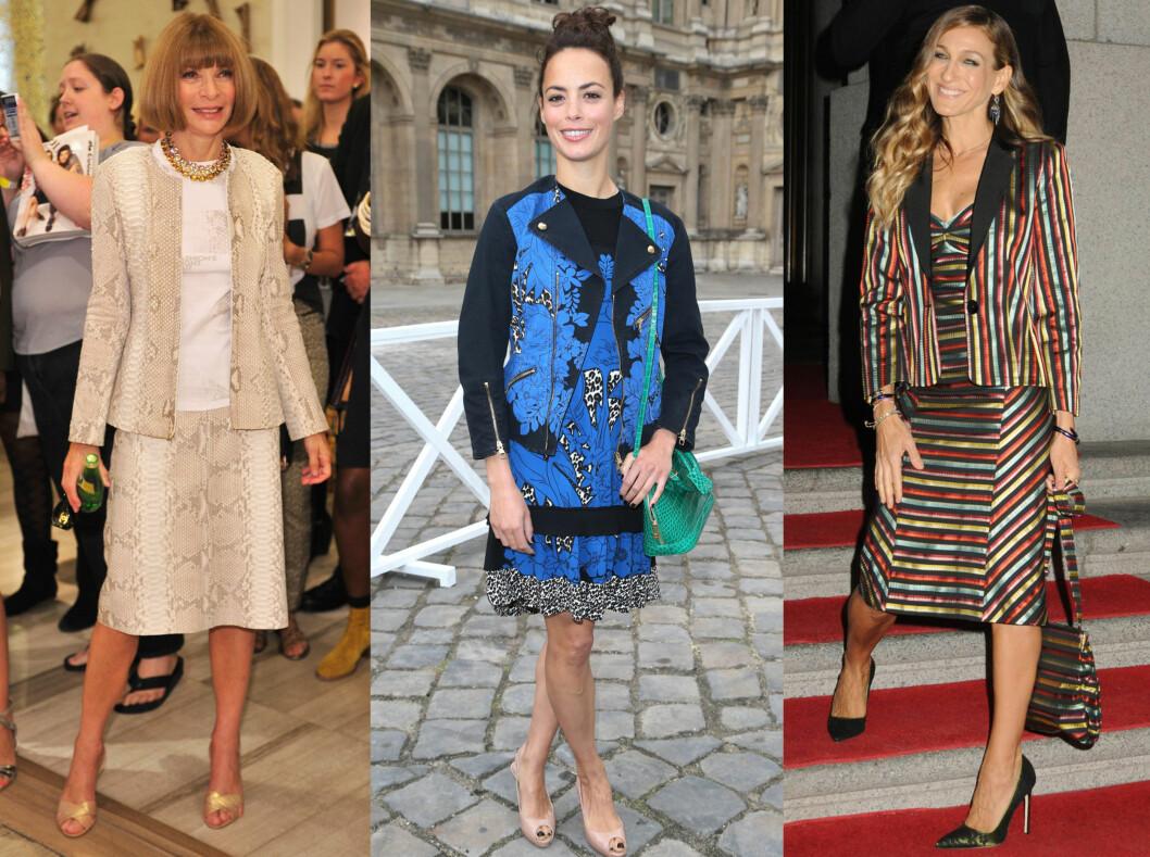 TA DEN HELT UT: Du kan også gå for kjole og jakke i samme stil. Men pass på: uttrykket kan fort bli litt tantete. Foto: All Over Press