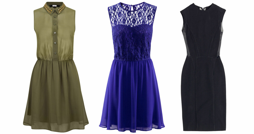 LITEN: Fra venstre: Grønn kjole med krage (kr 299, Bik Bok), blå blondekjole (kr 199, H&M), og svart kjole med detaljer på sidene (kr 699, Zara). Foto: Produsentene