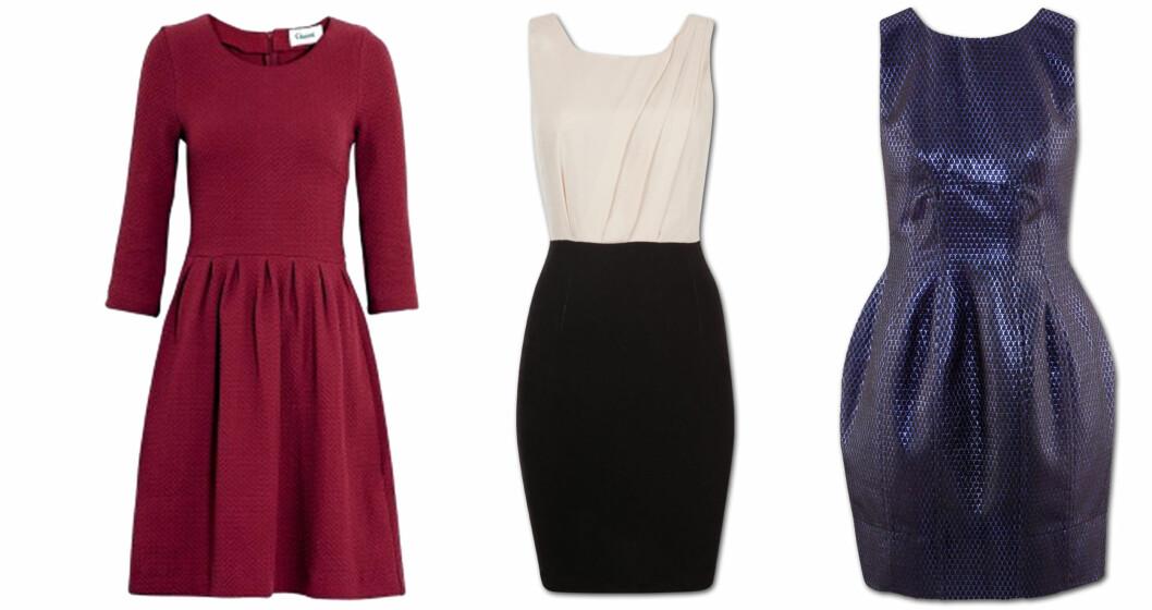 TIMEGLASSFIGUR: Fra venstre: rød kjole fra Ganni (kr 1150, My-wardrobe.com), figurnærkjole (kr 249, Cubus), og partykjole (kr 599, H&M). Foto: Produsentene