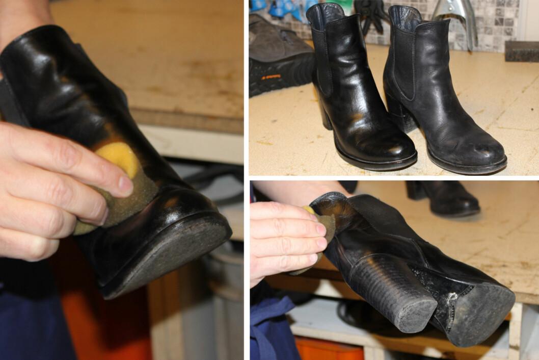 HUSK Å TA GODT RUNDT KANTENE: Det er her skoene blir mest slitt og det er det er størst ehov for beskyttelse fra vær og vind.  Foto: Tone Ruud Engen