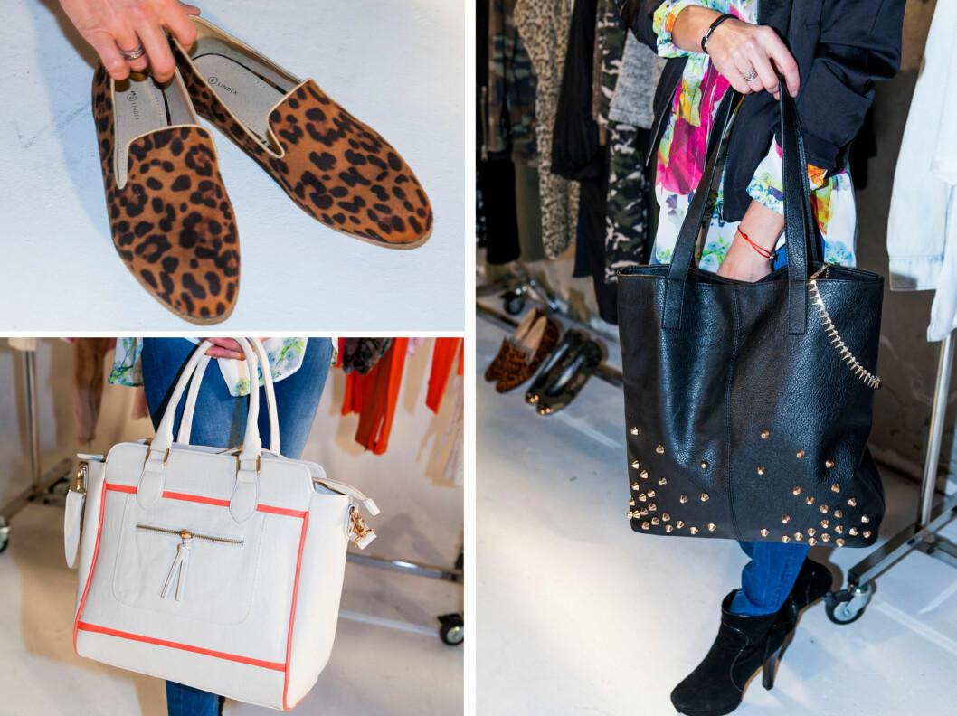 MER TILBEHØR: Lindex kommer med flere nye skomodeller for våren og sommeren. I tillegg vil disse to veskemodellene være tilgjengelige i butikk.  Foto: Per Ervland