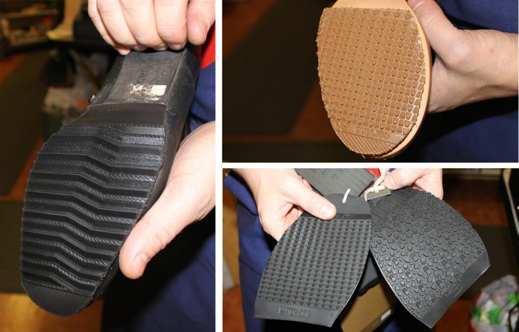 HUSK Å SJEKKE SÅLEN: For at du ikke skal gli på det glatte føret er det viktig å sjekke hva slags materialet sålen er laget av og hvordan mønster den har.  Foto: Tone Ruud Engen