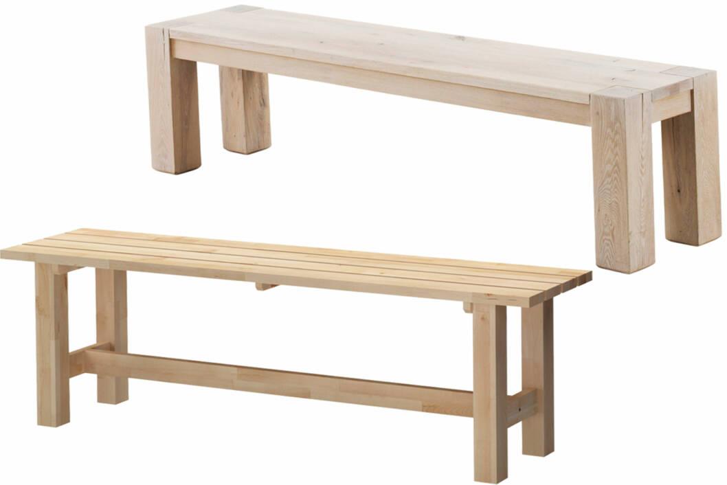 """DYRT ELLER RIMELIG: Det finnes alltid gode alternativer (Oppe: """"Oban"""" benk, kr 4995, living.no. Nede: """"Norden"""" benk, kr 495, Ikea.no.). Foto: Produsenten"""