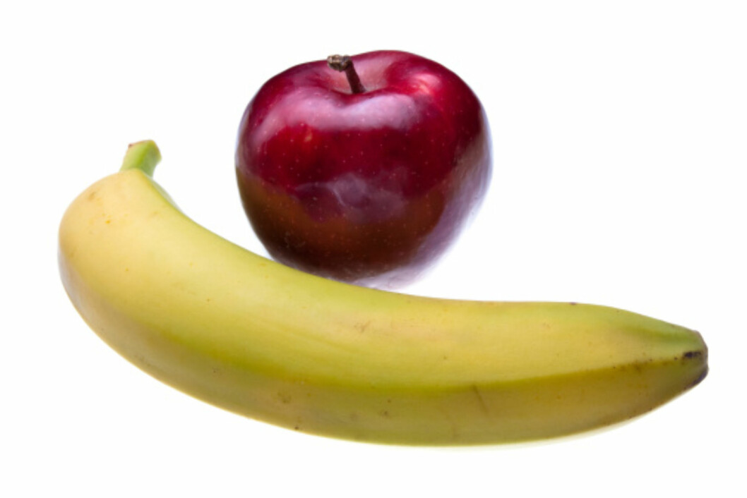 SKILL DEM: Epler og bananer bør ikke oppbevares sammen.  Foto: Getty Images/Zoonar RF