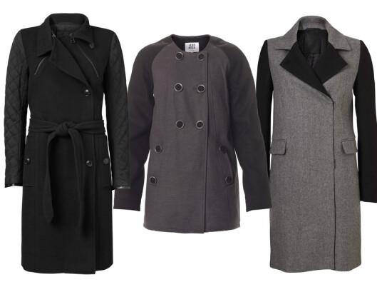 <strong>MED KONTRASTFARGEDE ERMER:</strong> Quiltede ermer (kr 2300, Inwear), kort modell (kr 600, Vero Moda) og grå (kr 2600, Inwear). Foto: Produsentene