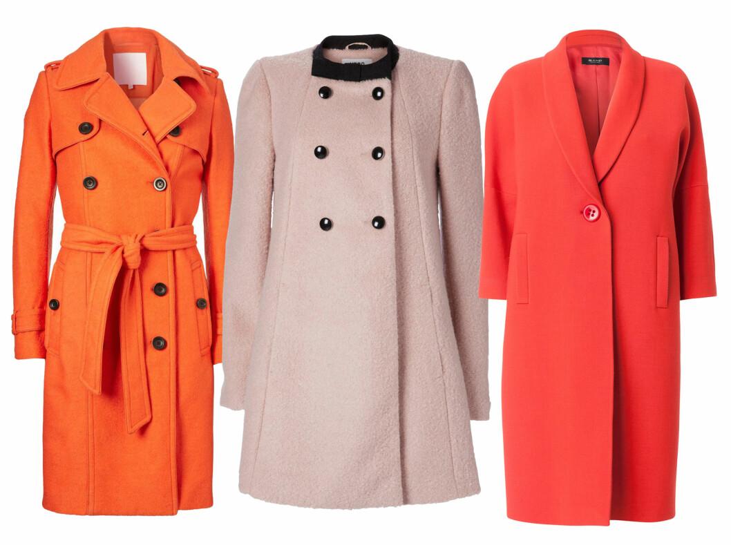 <strong>FARGEGLADE:</strong> Oransje (kr 2300, Inwear), pudderrosa (kr 800, Vero Moda) og rød (kr 4995, Sand). Foto: Produsentene