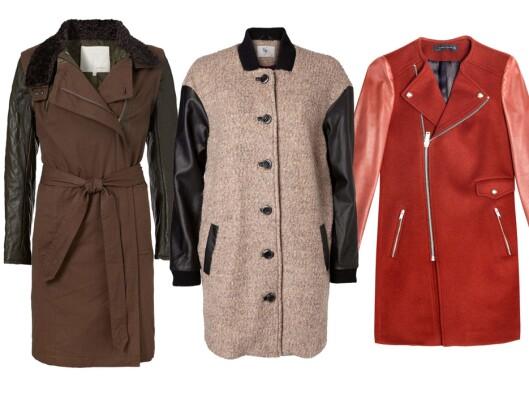 <strong>MED SKINNERMER:</strong> Brun (kr 3000, Inwear), beige (kr 1100, Vero Moda) og rød (kr 1495, Zara). Foto: Produsentene