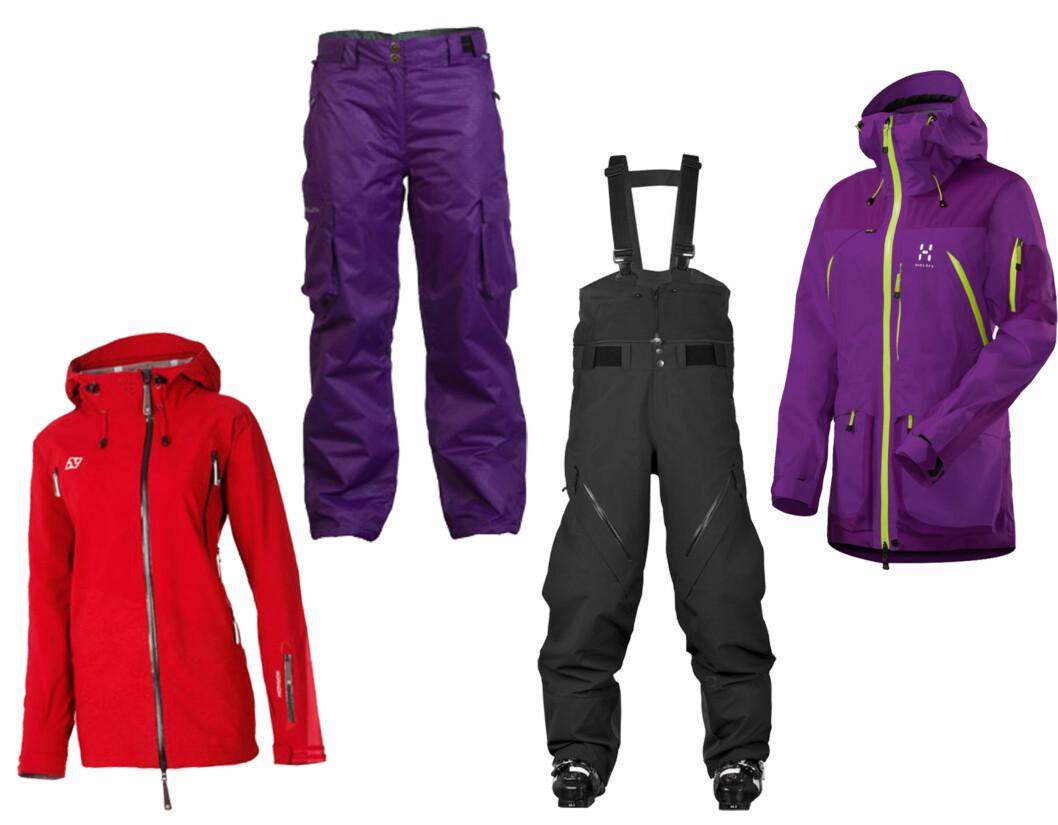 RIMELIGERE OG DYRERE: Norheim Heimre 3ply jakke (rød) er en 3-lags jakke med vannsøyle og pusteegenskaper (1999 kr, Gmax.no), og Missing Link (lilla) Nitro pants er vind og vannavstøtende (1299 kr, Gmax.no). Sweet Protection Voodoo pants er en 3-lags bukse med Gore-Tex og avtagbart selesystem (4999 kr, Antonsport.no), mens Haglöfs Vassi jacket er en frikjøringsjakke med DWR-behandlede overflater (5499 kr, Oslosportslager.no). Prisen kommer ofte veldig an på materialene plagget er laget i. Foto: Produsentene