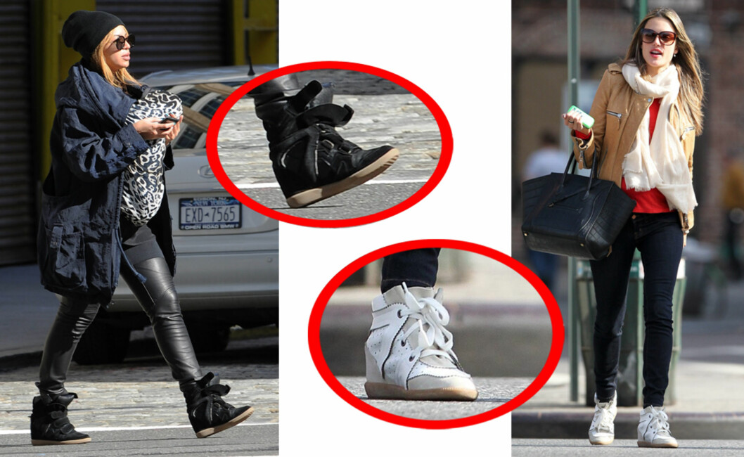 PERFEKT HVERDAGSSKO: Beyonce kombinerer sine svarte sneakers med leggings og parkas. Alessandra Ambrosio i jeans og skinnjakke (collage: Tone Ra Pedersen).  Foto: All Over Press