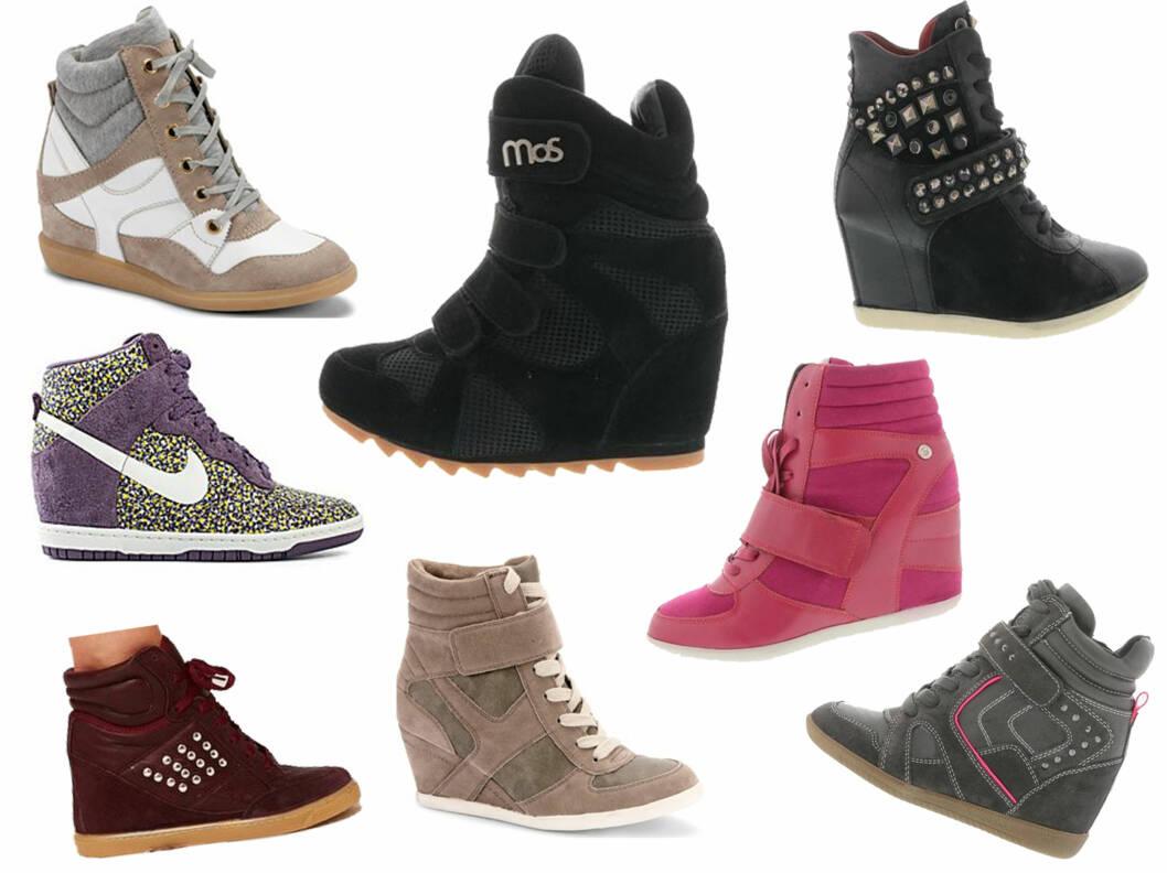 I BUTIKKENE NÅ: øverst fra venstre - beige og hvit sko (699 kr, Økonomisko), svart sko fra Mos Copenhagen (1099 kr, Brandos.no), rosa sko fra Blink (479 kr, Brandos.no), beige sko (399 kr, Økonomisko), burgunderrød sko (435 kr, Asos.com), grå og rosa sko fra Tamaris (799 kr, Brandos.no) og svart sko med nagler fra Mjus (1449 kr, Brandos.no).  Foto: Produsentene