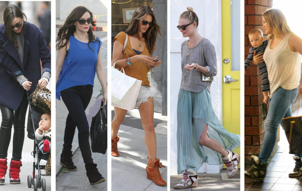 PÅ STJERNENE: Kjendiskvinner i Hollywood elsker platåsneakersene. Fra venstre - Miranda Kerr, Rose McGowan, Alessandra Ambrosio, Kate Bosworth og Hillary Duff.  Foto: All Over Press