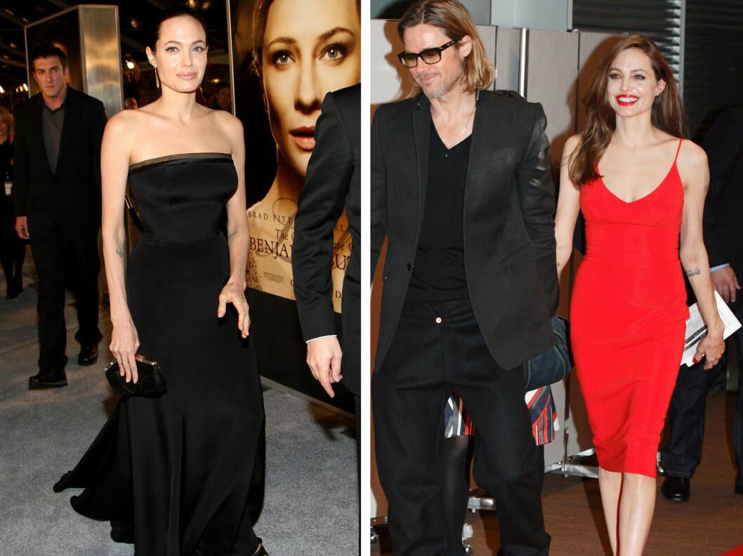 <strong>I SCOTTS DESIGN:</strong> Her er Angelina i kjoler signert L'Wren Scott. Fra venstre - svart elegant aftenkjole fra premieren av Benjamin Button,- rød, sexy kjole fra premieren på Moneyball.  Foto: All Over Press