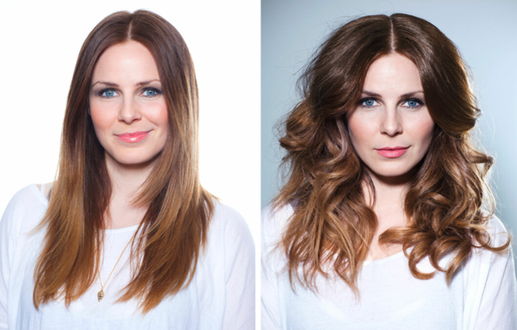 FØR OG ETTER: Fra glatt og rett hår til to forskjellige krøllelooker: matt og rufsete på den ene siden –blanke og glamorøse krøller på den andre. Foto: Astrid Waller