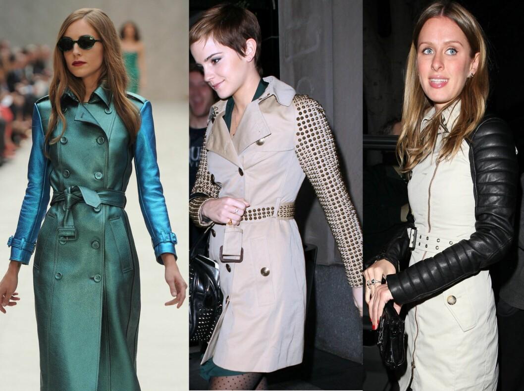 FOKUS PÅ ERMER: Kontrastfargede ermer hos Burberry, Emma Watson går for naglebesatte ermer, mens Nicky Hilton velger ermer i skinn. Foto: All Over Press