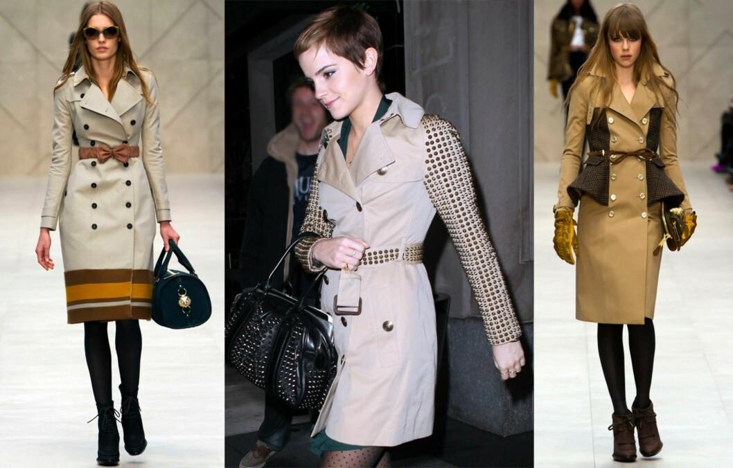 STILIG MED TRENCHCOAT: Trenchjakken er en klassisker, og særlig Burberry er kjent for sine lekre utgaver (bildet til høyre og til venstre - Burberry Prorsum høst/vinter 2012). Også skuespiller Emma Watson elsker trenden. Foto: All Over Press