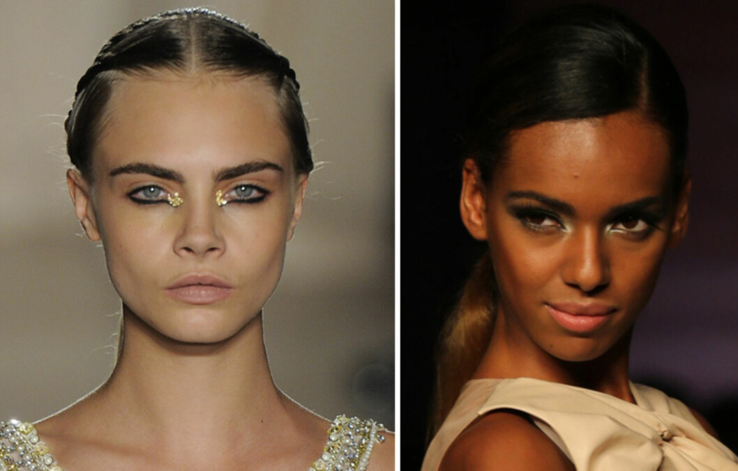 VAKKER I GULL: Velg mer dramatiske gulldetaljer, som hos Marchesa eller en mer duset look, som hos Dior.  Foto: All Over Press
