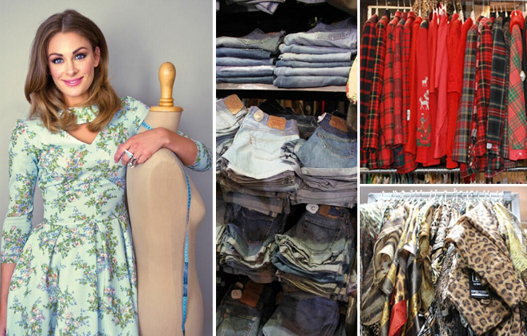 BRUKTSKATTER: Jenny Skavlan har flere tips til hvordan du kan finne bruktskatter i brukt/vintagebutikker. Få tipsene lenger nede i saken! Foto: Solveig Selj / Aschehoug/Cecilie Leganger