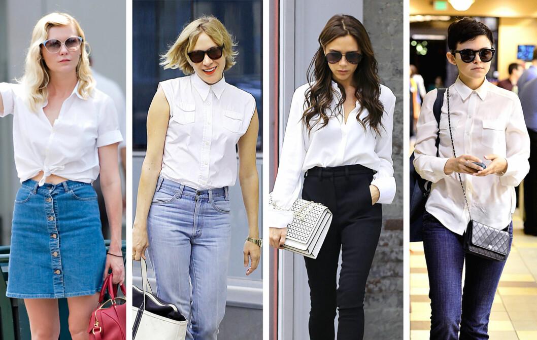 EN KLASSISKER: Den hvite skjorten er en tidløs klassiker, som er elsket av kjendiskvinnene. Fra venstre - Kirsten Dunst, Chloe Sevigny, Victoria Beckham og Ginnifer Goodwin.  Foto: All over Press