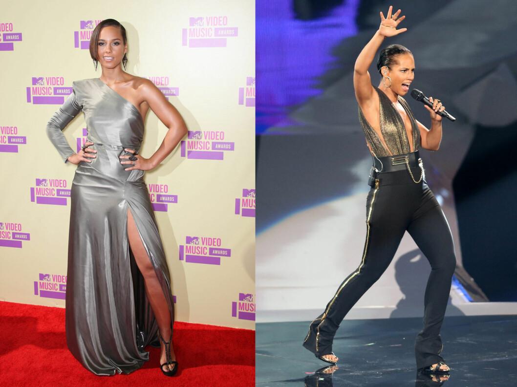 POPIKON: Alicia Keys er en av vår tids aller største artister. Her er hun på den røde løperen og scenen under MTV Video Music Awards i LA torsdag denne uken.  Foto: All Over Press