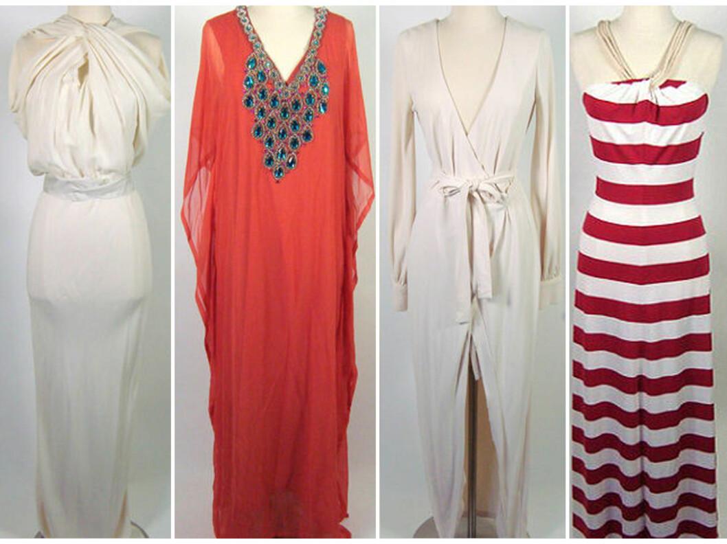LEKRE KJOLER: Her er noen av kjolene Kim selger. Fra venstre - nydelig hvit Lanvin-kjole, lang rød tunikakjole fra  Marena Y Sol, hvit omslagskjole og stripete kjole fra Kardashian Kollection.  Foto: eBay.com