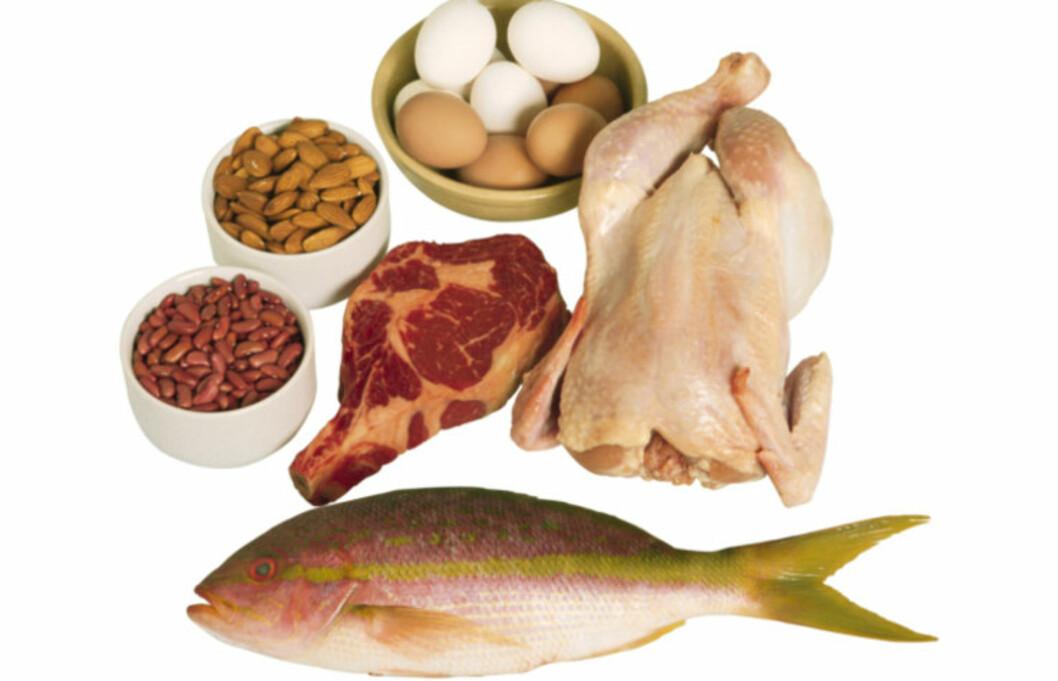 <strong>IKKE OVERDRIV INNTAKET:</strong> Det anbefales at proteininntaket utgjør ti til 20 prosent av energiinntaket ditt.Trener du mye, trenger du mer, men husk at du ikke bør få i deg for mye. For mye - som kroppen ikke får brukt, lagres som fett.  Foto: Getty Images/Comstock Images