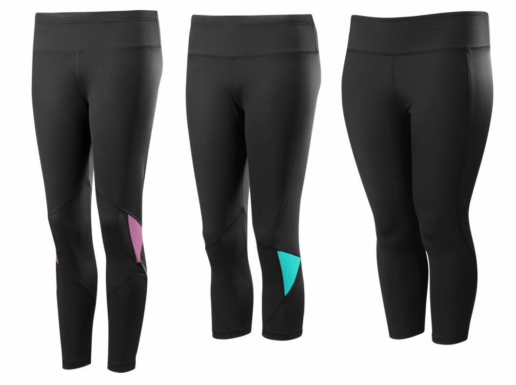 MED ANTI-SHAKE-EFFEKT: Alle disse tre tightsene har anti-shake-effket. Foto: Produsenten
