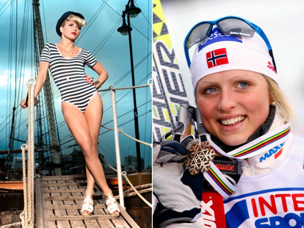 MODELL: Skistjernen Therese Johaug har blitt en ettertraktet modell de siste åreen.  Foto: Egmont/Astrid Waller (styling: Linda Bråmo)  og All Over Press