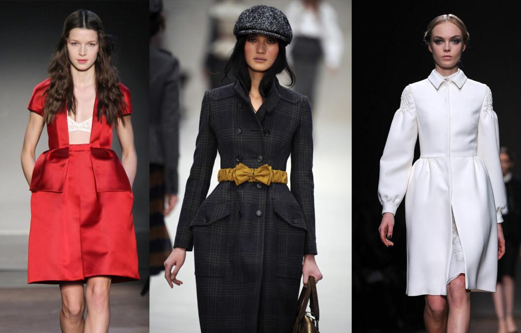 PÅ CATWALKEN: Carven (t.v.), Burberry Prorsum og Valentino (t.h.) er noen av designerne som har satt fokus på midjen og hoftene. Foto: All Over Press
