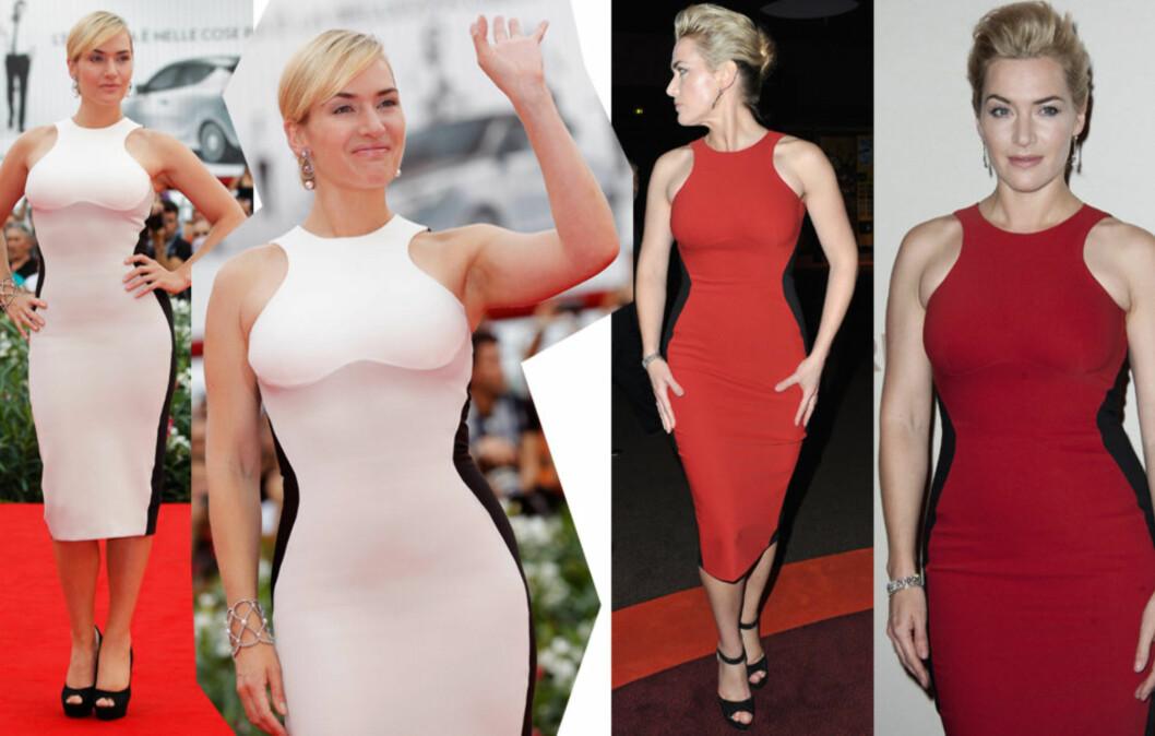 VISER FRAM FORMENE: Kate Winslet er stolt av formene sine, og det skjønner vi godt. Se hvor effektivt hun framhever midjen med sorte partier i siden. Lær flere triks får å vise fram midtpartiet lenger ned i saken –og ja, vi har triks for alle kroppsfasonger.  Foto: All Over Press
