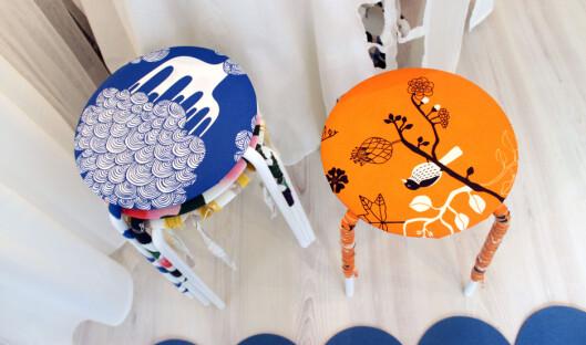 ARTIGE KRAKKER: Se så morsomme Ikea-krakkene kan bli med tekstiler. Foto: Silje Ulveseth