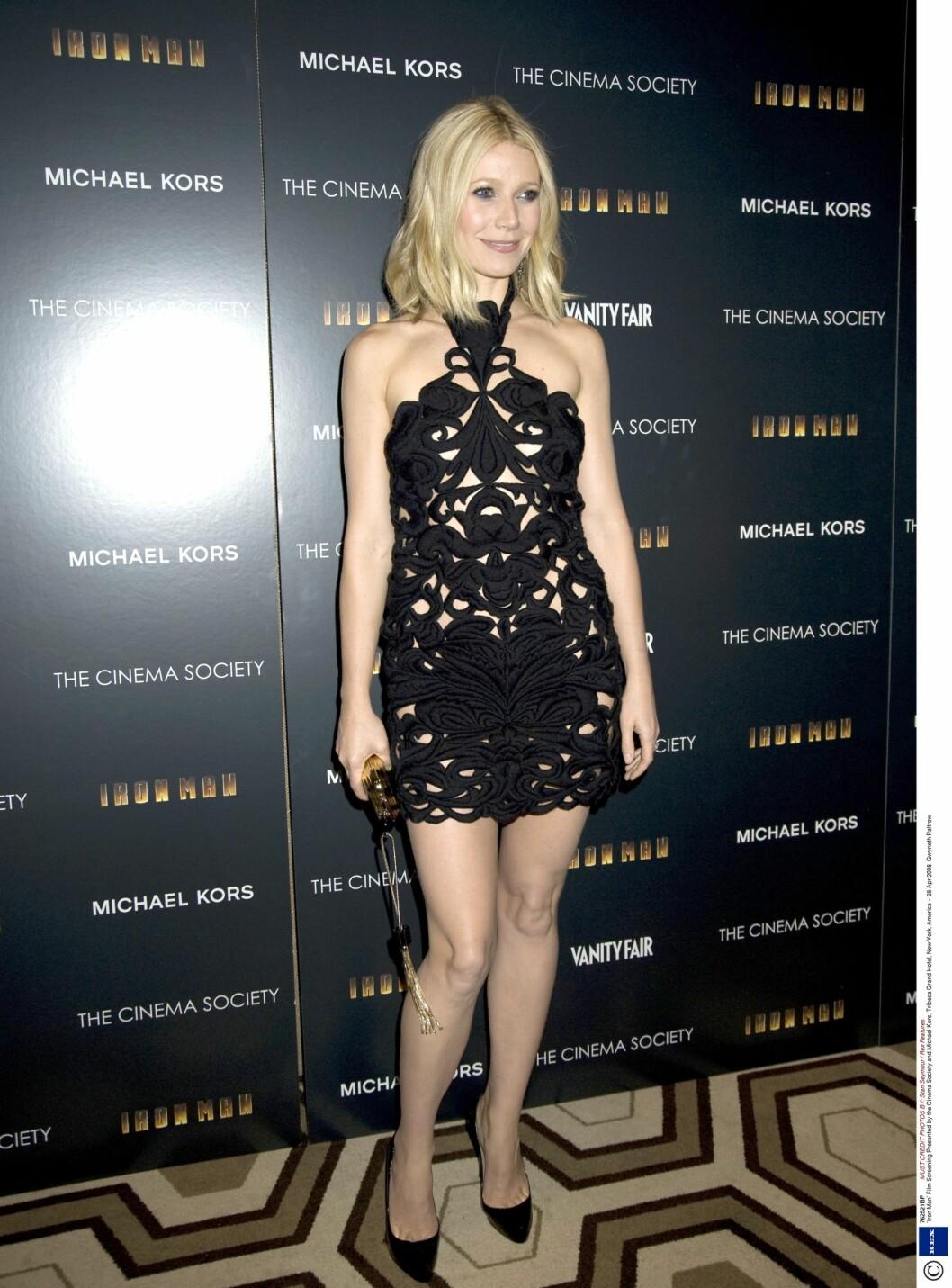 Gwyneth kom i Stella McCartney-kjole under filmpremieren til The Iron Man. Foto: All Over Press