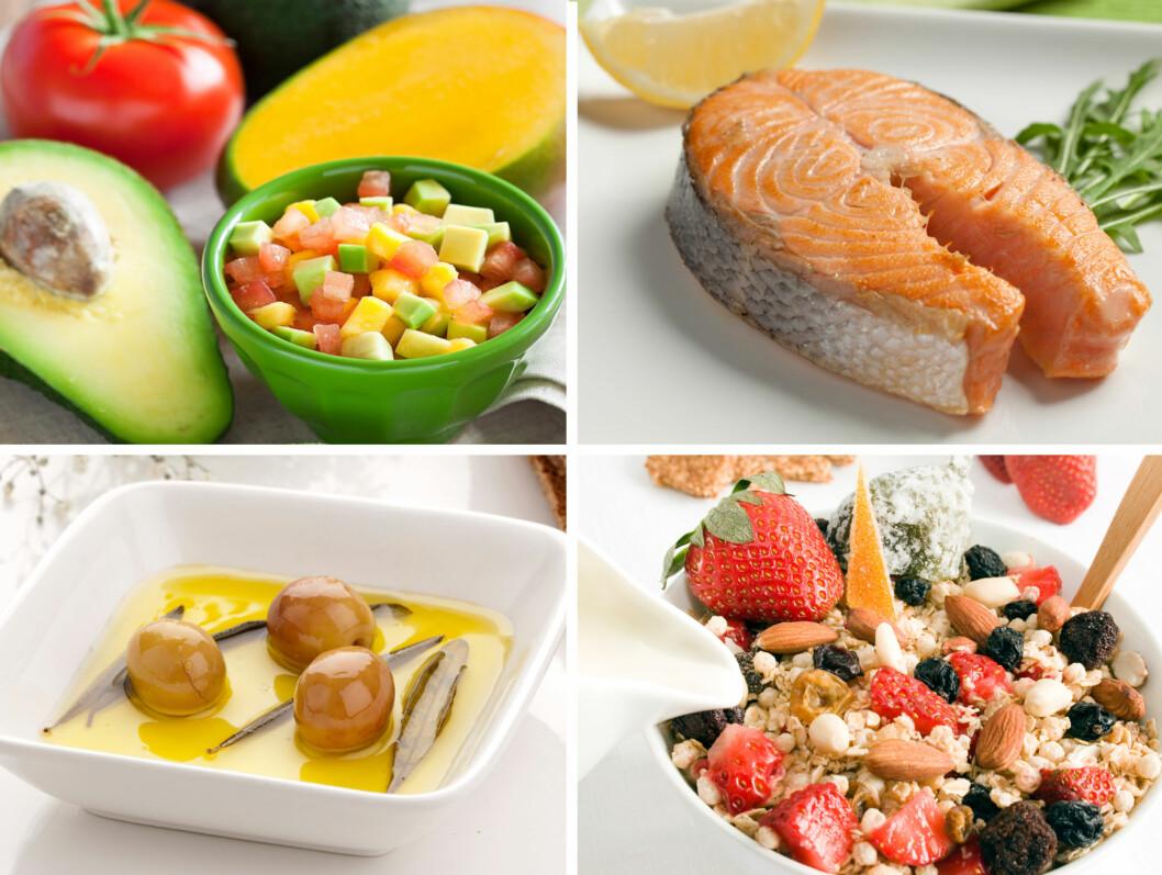 VITAMIN E: Fete frukter som avokado og mango, fet fisk som laks, olivenolje, grove kornprodukter og nøtter som mandler inneholder mye vitamin E. Foto: Thinkstock