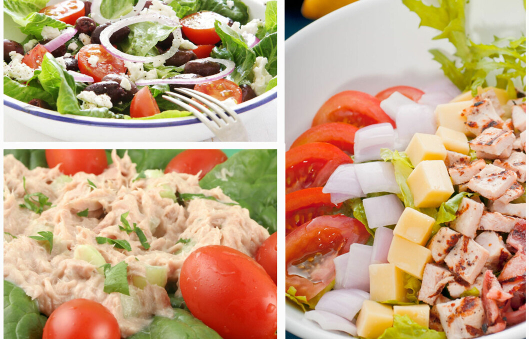 KALORIBOMBER: Hvor sunn en salat er, kommer naturligvis helt an på innholdet. Mye ost, dressing, krydder og lignende kan gjøre den enormt kaloririk.  Foto: Panthermedia