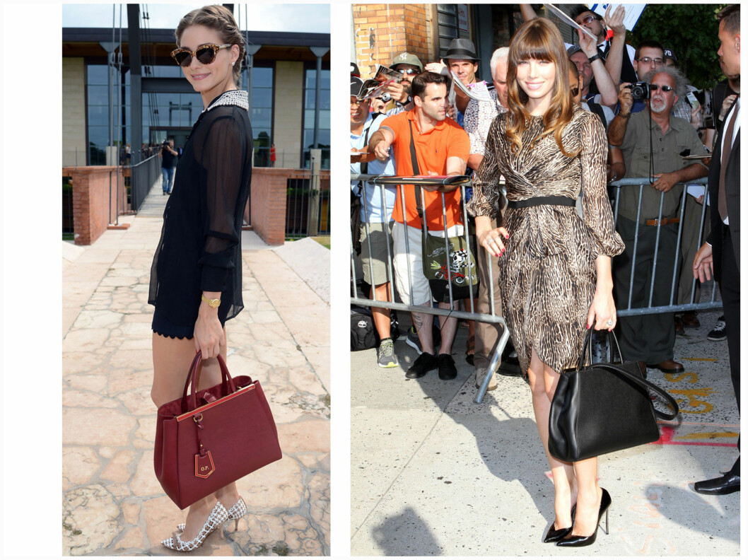 FAST FØLGE: Olivia Palmero og Jessica Biel er begge forelsket i sin nye Fendi-veske.  Foto: All Over Press
